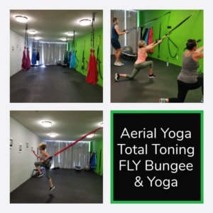Image of Aerial Yoga swings, reverse TRX lunges and Fly Bungee