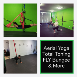 image of an aerial yoga pose, lunges with rip trainer and bungee pushup