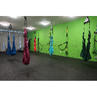 photo of Fitness in a pandemic social distanced Aerial Yoga hammocks